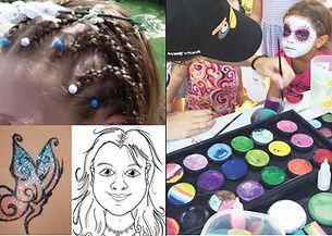 עמדות קעקועי נצנצנים איפור צמת ציור קריקטורות