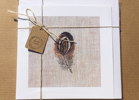 Pack of Four Small Feather Study Greetings Cards