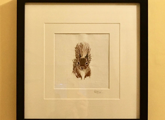 Red Squirrel Free Machine Embroidery SOLD