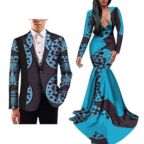 Couple vêtements Dashiki afrique amoureux  Robe et veste WY