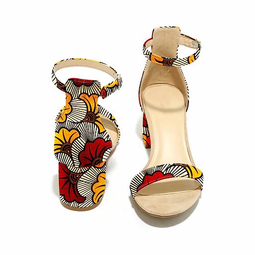 sandales à talons hauts pour femmes, chaussures carrées, mode, imprimés ankara