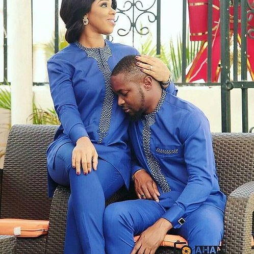ensemble couple homme + femme 4 pieces top chic  bleu