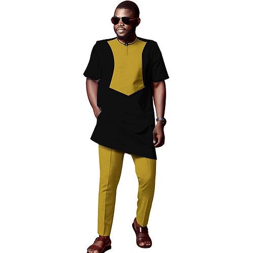 hommes traditionnelle dashiki imprimé unique chemise + ankara pentalon