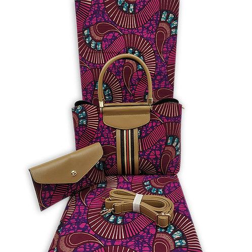 mode sac de cire africaine ensembles 3 pièces ankara  pochette et 6m wax