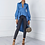 Thumbnail: Sexy boutons longue blouse chemise femmes col de couverture bleu