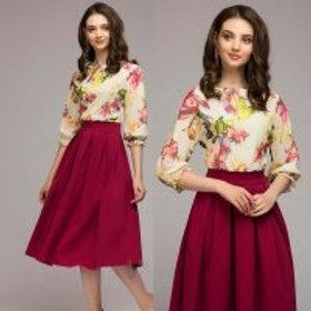 robe Vintage O-cou À Manches Courtes Imprimé floral Élégant