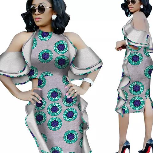 robes africaine pour femmes  Riche Ankara imprimer épaule dénudée robes en