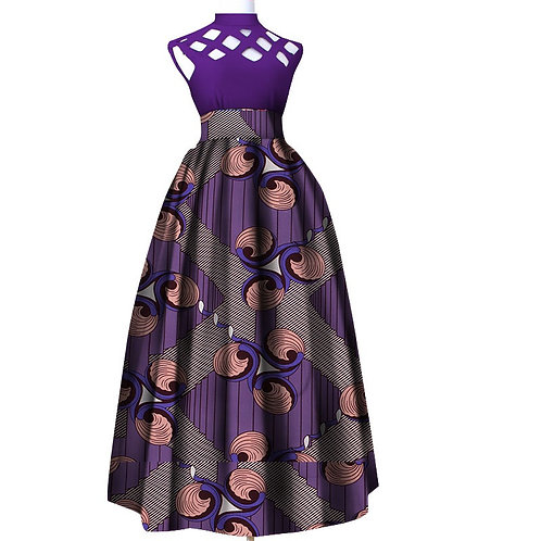 femme Riche mode creux longue robe d'été traditionnel impression Stand cou