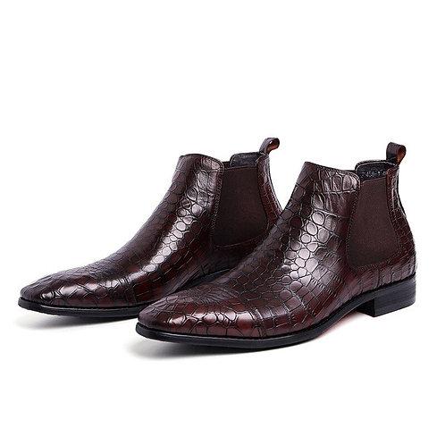 homme italien botte cuir Chelsea bottes habillées Alligator cuir