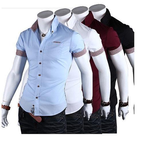 homme chemise a motif carreaux manche courte