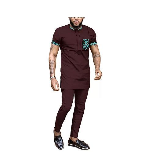 hommes tenue dashiki hauts chemises + pantalons ensemble  africain