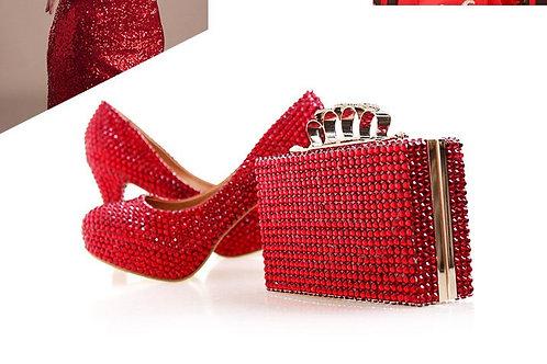femme cristal chaussures de mariage avec correspondance sacs