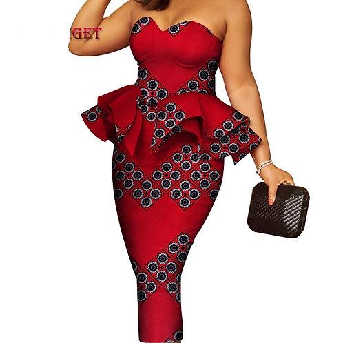 Femme de soirée robe en wax super qualité longue cheville