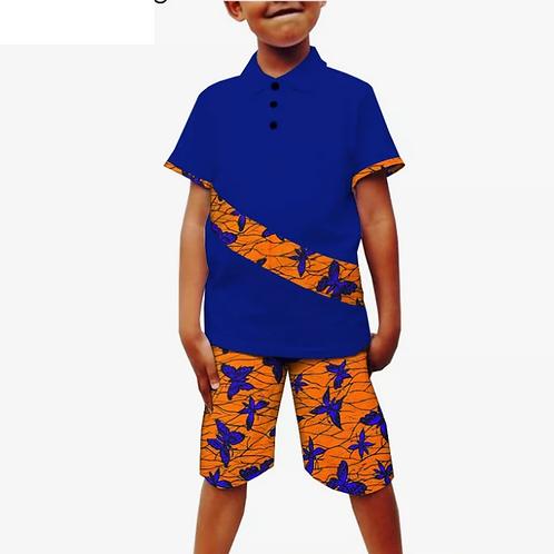 enfants manches courtes chemise + genou longueur short décontracté