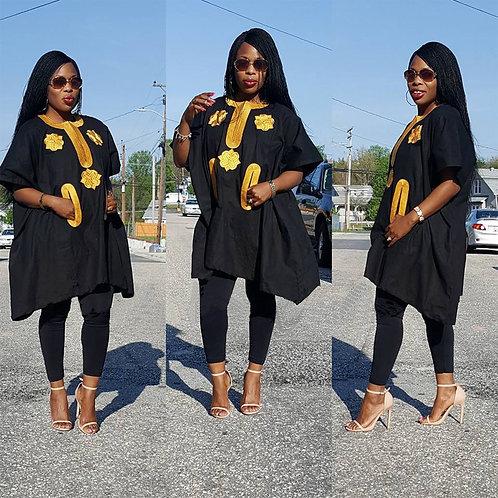 femmes africaines dashiki robe matériau souple brodé