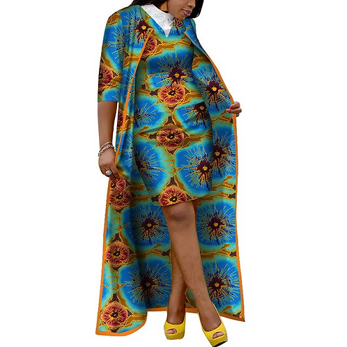 Dashiki pour femmes, manteau Long et mini robe, vêtements africains Bazin