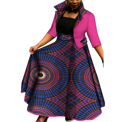 Femmes Vêtements Dashiki 2 pièces Manteau et Jupes ensembles WY3