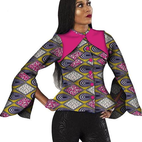 dame Slim chemise Flare manches Top Ankara imprimer2