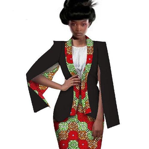 Femme 2 Pièces Robe convient  haut Veste et Jupe Imprimée