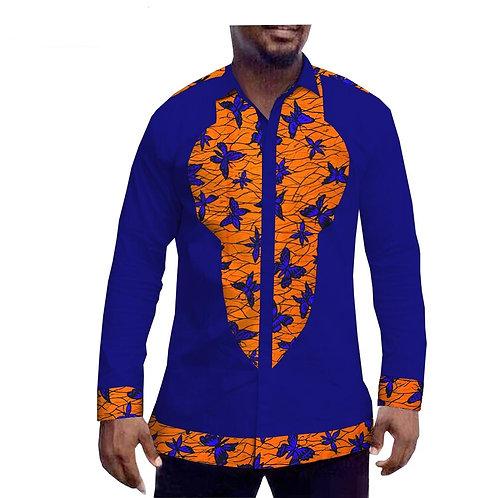 tyle africain chemise pour hommes personnalisé à manches longues col r