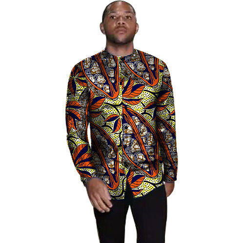 chemise homme  top long afrotropic mode