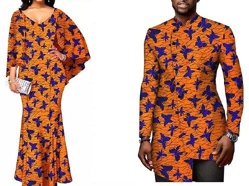 Ensemble couple dashiki homme et robe dame tissu rare ref papillon