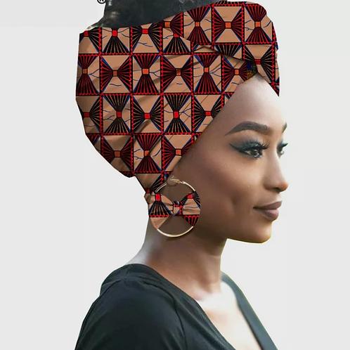 mode foulard africain + boucles d'oreilles 2 pièces ensembles REFK1