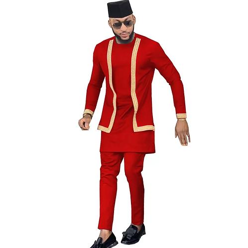 homme ensemble  costume 3 pièce Dashiki chemise d'oré + pantalon + Tribal bonnet
