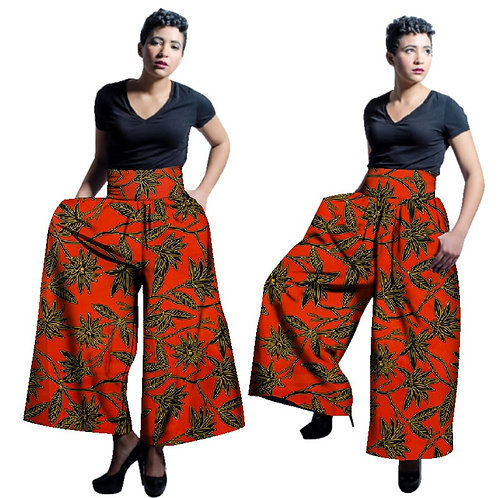 Lâche long pantalon large en bas Ankara 100% cire Coton ref01