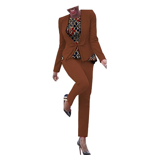3 pièces pour femmes simple bouton manteau + chemise sans manche et pantalon GGH