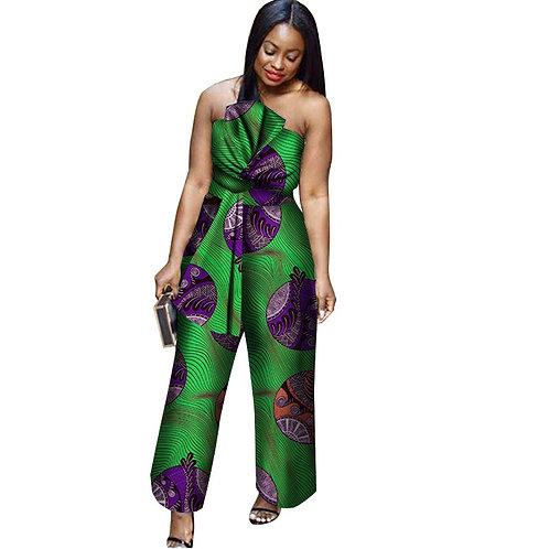 femme Barboteuse en coton imprimé cire Sexy, combinaison élégante
