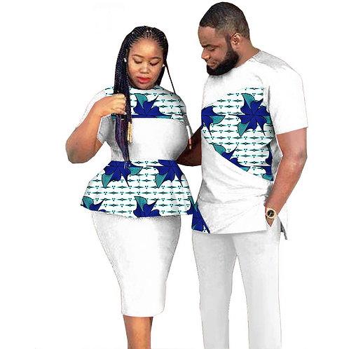 Couples africains vêtements hommes et femme fête coton Ankara cire imprimé