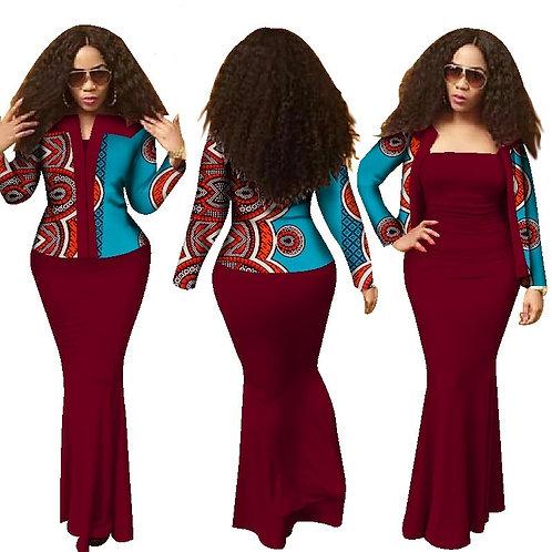 Femmes Nouveau Style Dashiki 2 pièce Robe Crop Top Robe Longue Costumes ref02