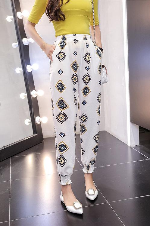 Femmes Pantalon Imprimer Mousseline de Soie Occasionnelle ref 002