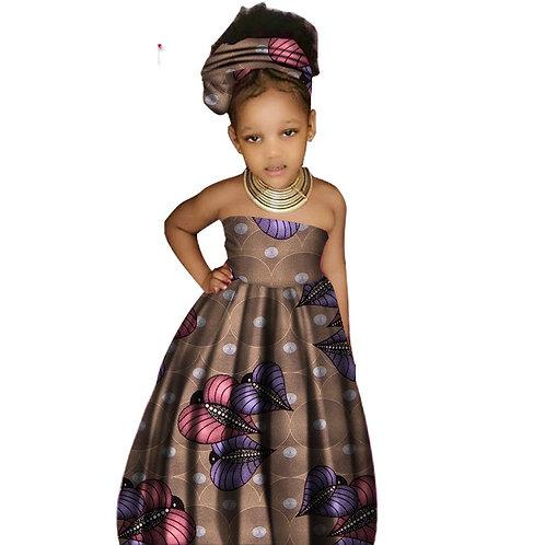 Africain mignon vêtements pour enfants fille Dashiki traditionnel 100% cire coto