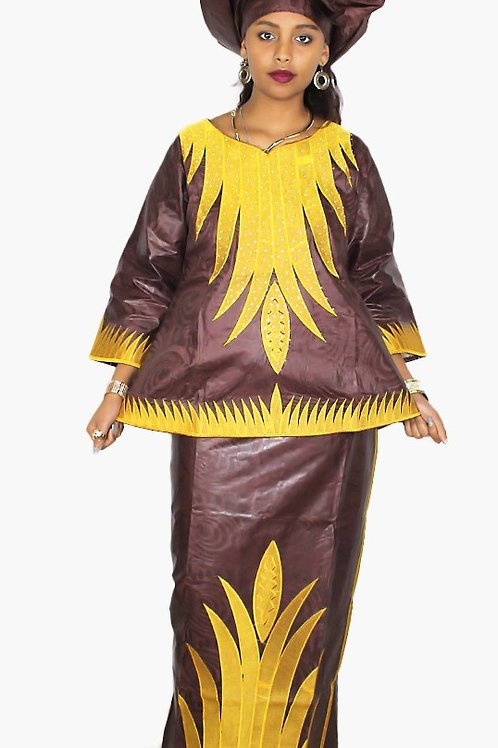 femme robe nouvelle mode  bazin broderie conception ref0R1