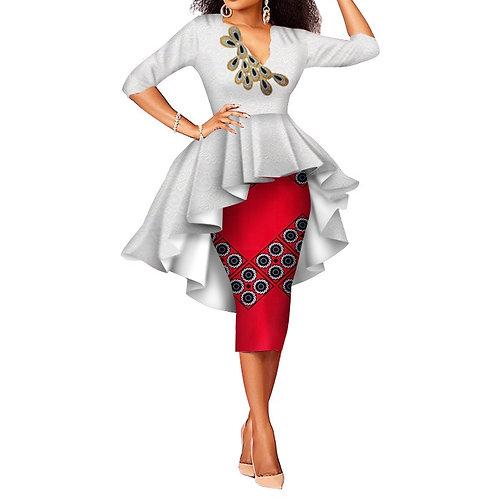 femme deux pièces jupe Imprimé Africain + dentelle Vêtements ref02