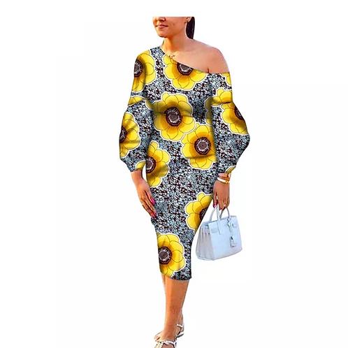 femme automne robe nouveau style pur coton moyen poignet manches ankara imprime