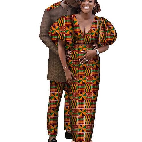 vêtements couple amoureux  longue robe pour femme et hommes ensembles Dashiki
