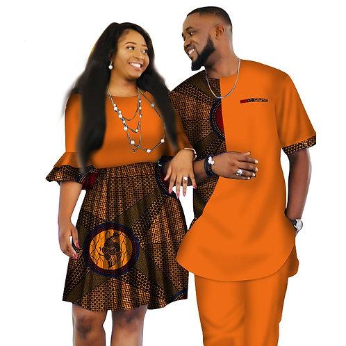ensemble couple homme + femme africain colore 3pieces