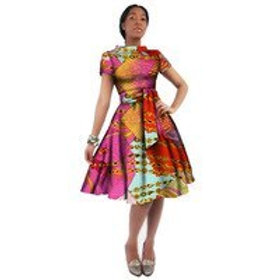 femme robe afro color manche courte