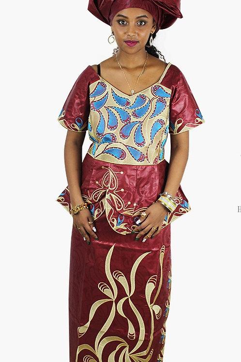 femme robe nouvelle mode  bazin broderie conception ref0R3