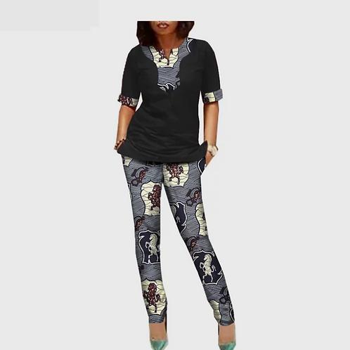 femme custom demi manches split  + cheville longueur pantalon coton