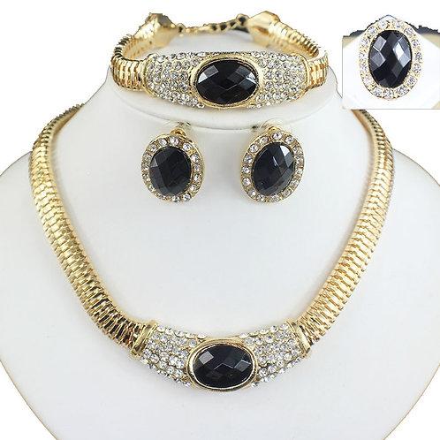 bijoux cristal collier boucles d'oreilles bracelet couleur or perlé ensembles