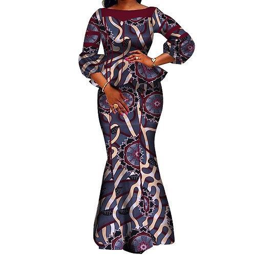 Femmes Ensemble jupe Dashiki Coton Crop et haut vêtements 02