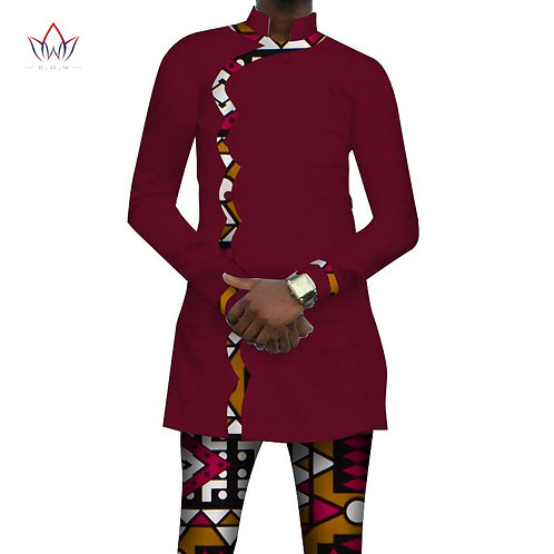 homme African Print Style Button Top and Pants Sets Ankara 2 Pieces