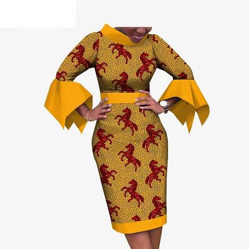 femmes robe africaine imprimé poignet  flare manche genou-crayon