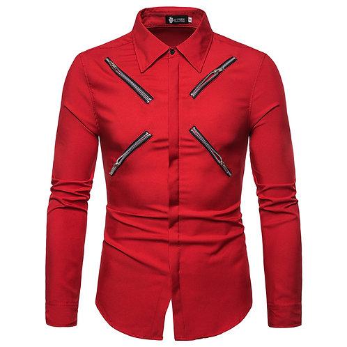 haute qualité chemise hommes mode personnalité coupe zip décor