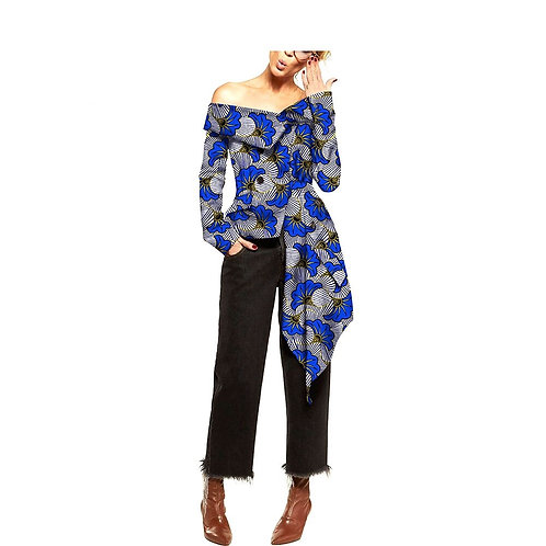 Femme haut cire batik  personnalisé slash cou manche longue S18