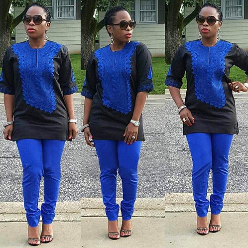 Femme ensemble chemise dashiki brodé bleu + pantalon